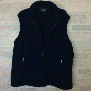 Land's Ends Mens Fleece Vest Blue Full Zip Size XL